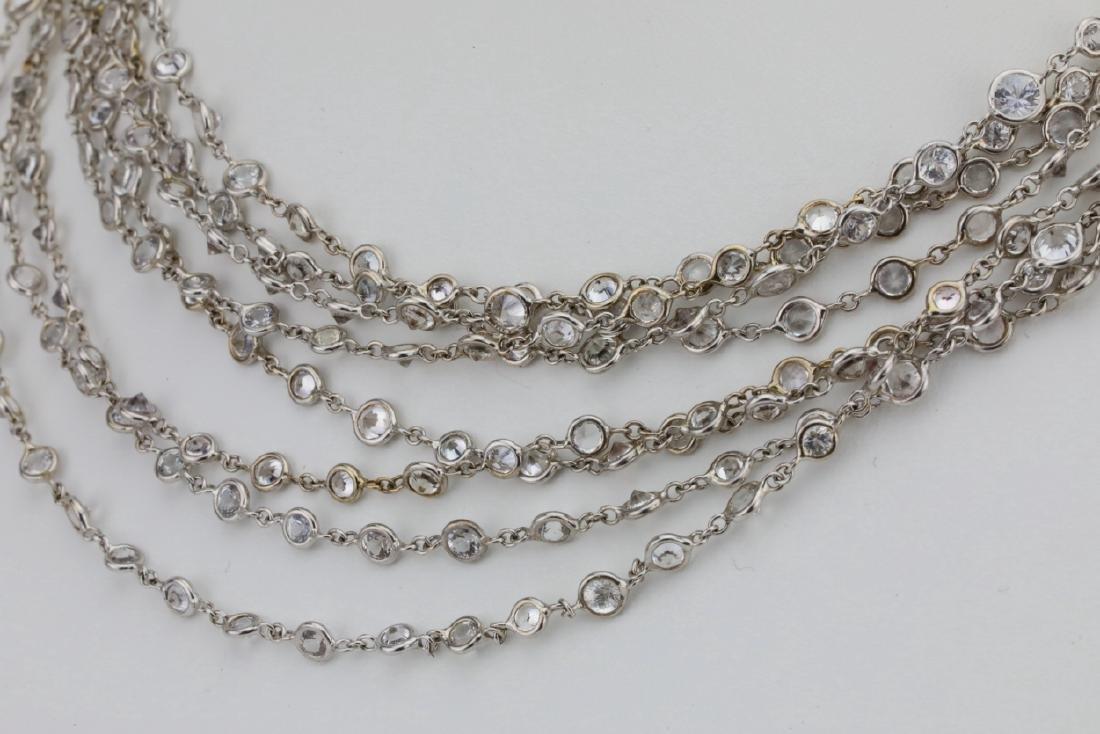 """39.45ctw White Sapphire 18K 111"""" Sautoir Necklace - 6"""