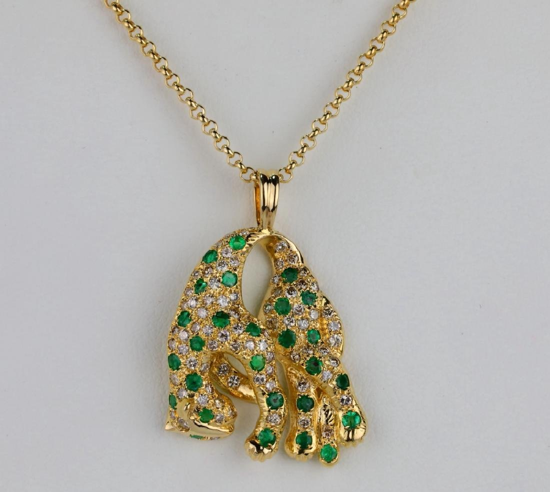 1.3ctw Emerald, 1.15ctw Diamond & 18K Necklace