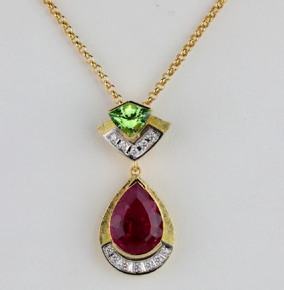 8.03ctw Pink/Green Tourmaline & Diamond Necklace