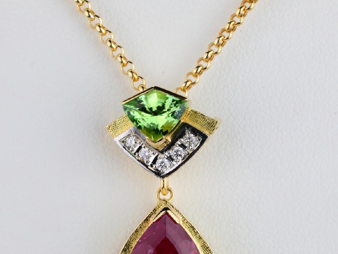 8.03ctw Pink/Green Tourmaline & Diamond Necklace - 2