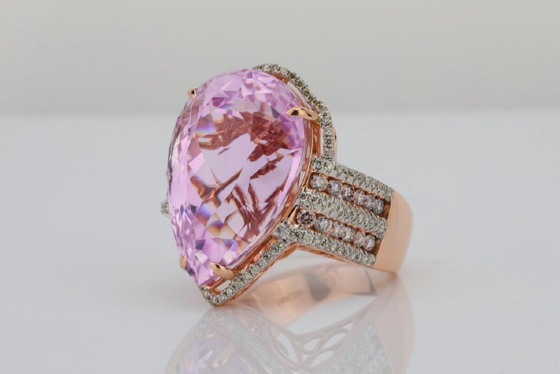 35.4ct Kunzite, 1.5tw Pink/White Diamond 14K Ring