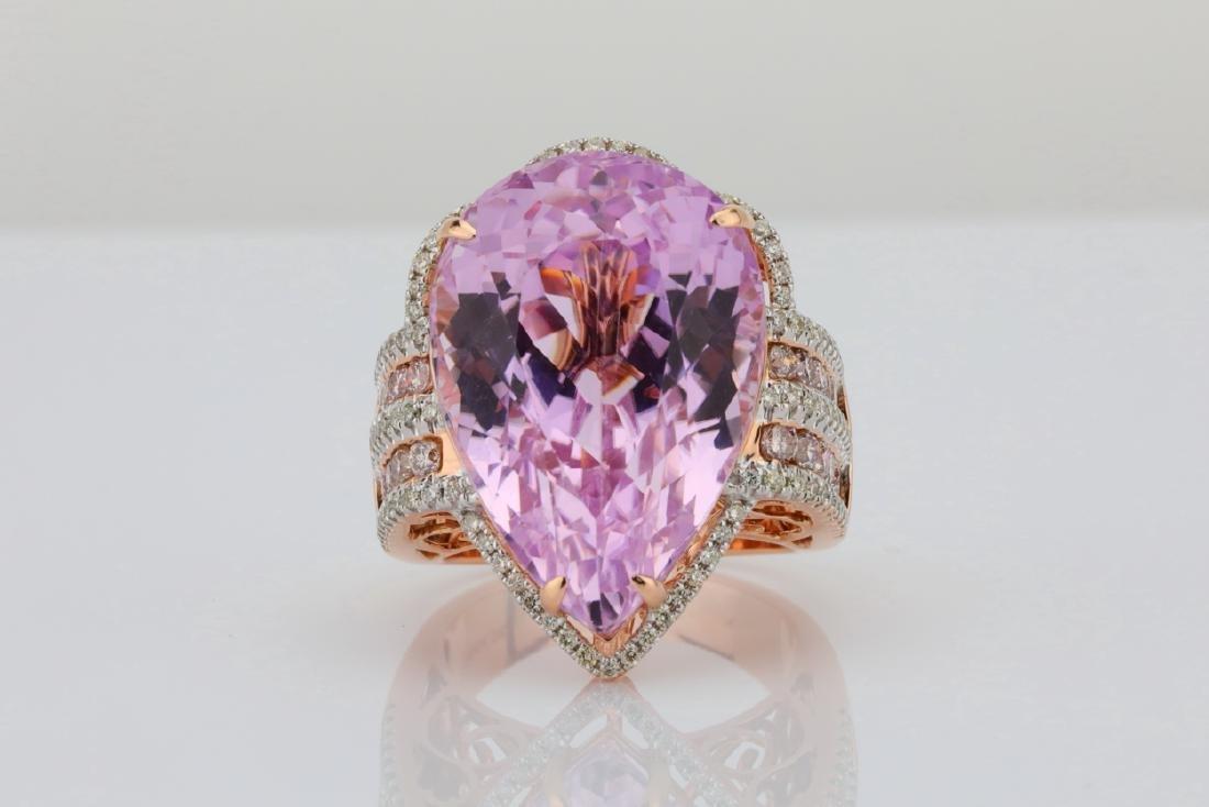 35.4ct Kunzite, 1.5tw Pink/White Diamond 14K Ring - 2
