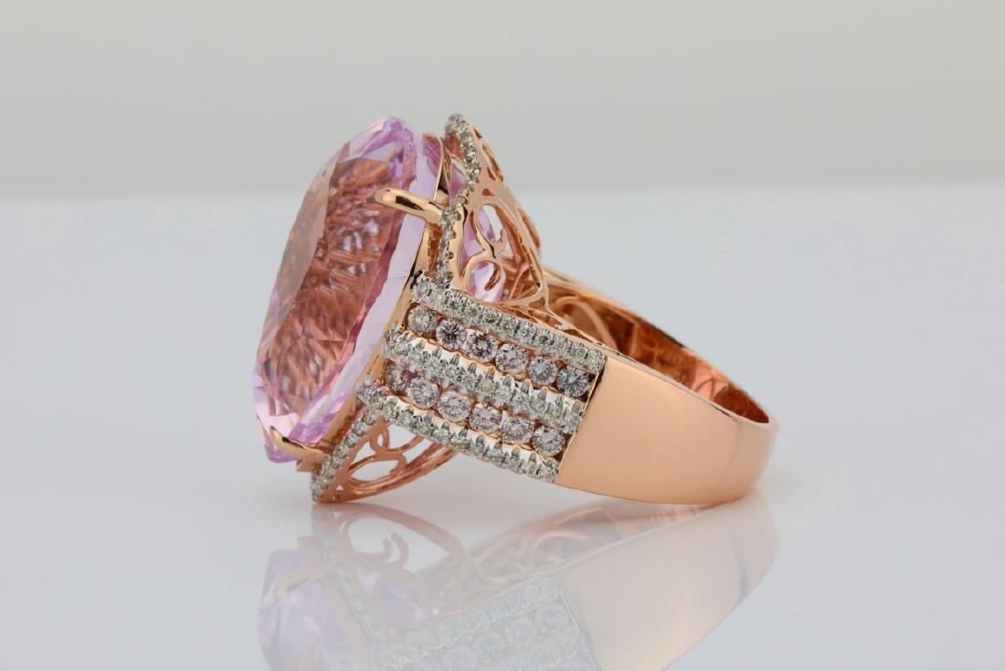 35.4ct Kunzite, 1.5tw Pink/White Diamond 14K Ring - 4