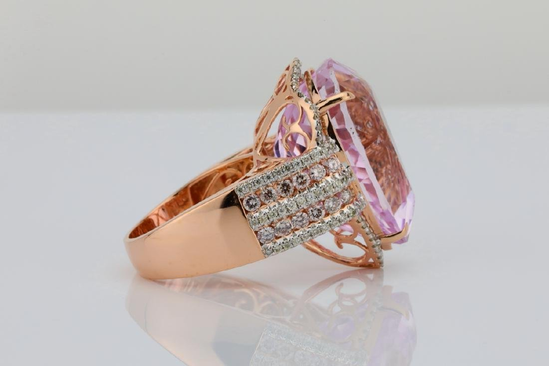 35.4ct Kunzite, 1.5tw Pink/White Diamond 14K Ring - 5
