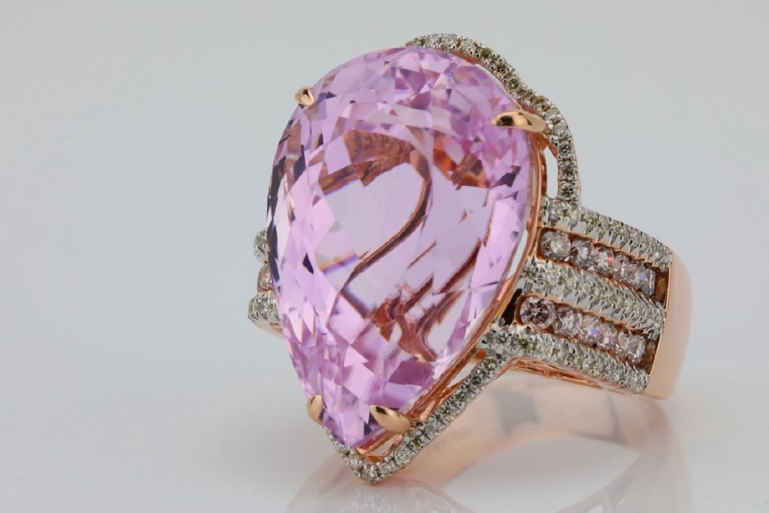 35.4ct Kunzite, 1.5tw Pink/White Diamond 14K Ring - 6