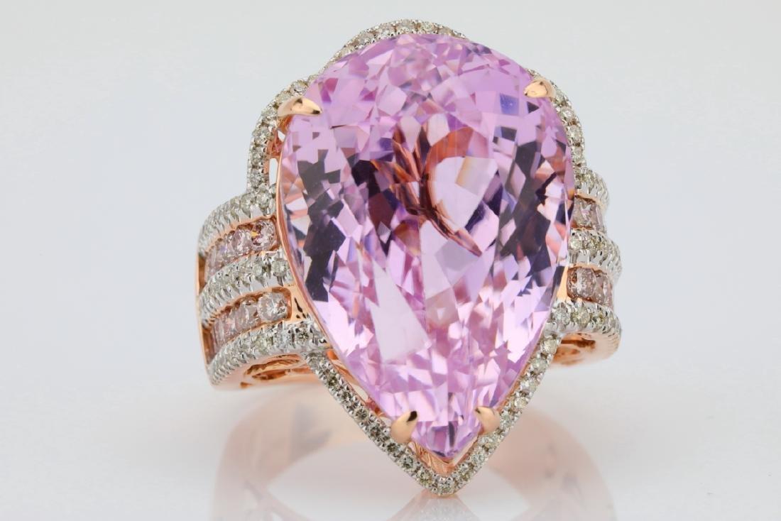 35.4ct Kunzite, 1.5tw Pink/White Diamond 14K Ring - 7