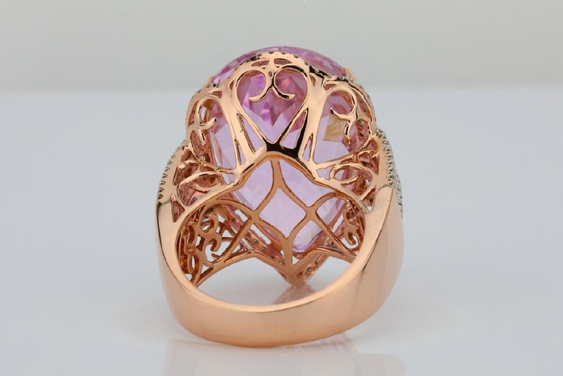 35.4ct Kunzite, 1.5tw Pink/White Diamond 14K Ring - 8