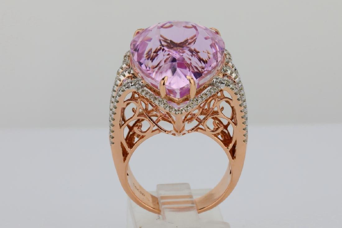35.4ct Kunzite, 1.5tw Pink/White Diamond 14K Ring - 9