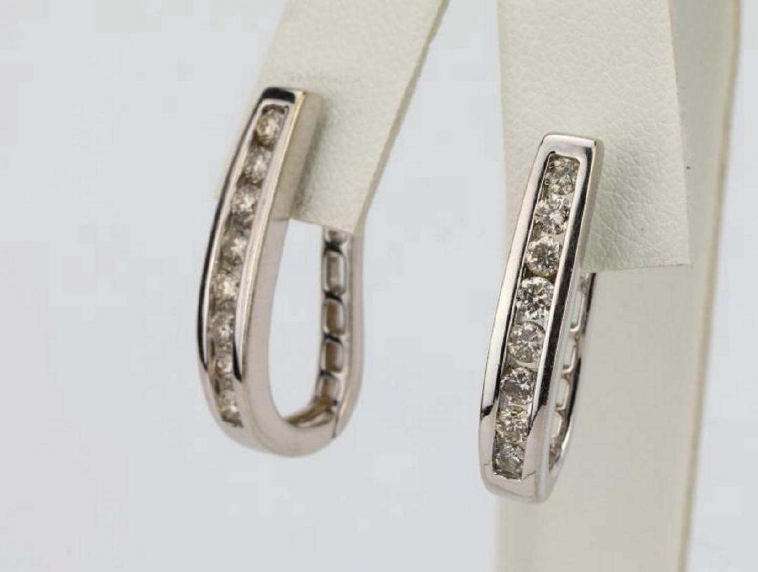 """1.15ctw SI1-SI2/G-H Diamond 14K 1"""" Hoop Earrings - 2"""
