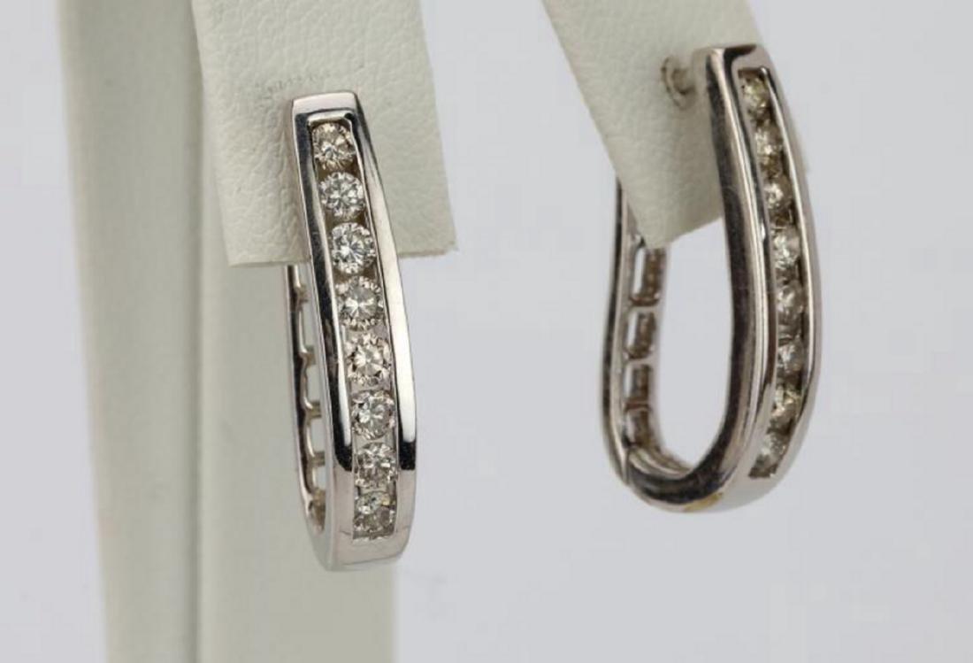 """1.15ctw SI1-SI2/G-H Diamond 14K 1"""" Hoop Earrings - 3"""