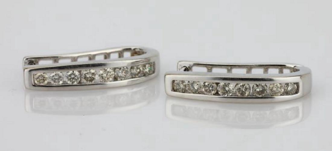 """1.15ctw SI1-SI2/G-H Diamond 14K 1"""" Hoop Earrings - 4"""
