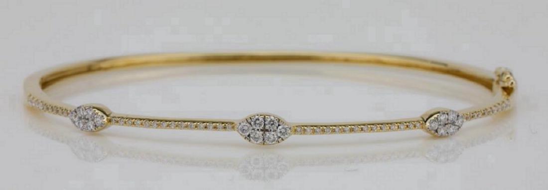 1.00ctw SI1-SI2/G-H Diamond & 14K Bangle Bracelet
