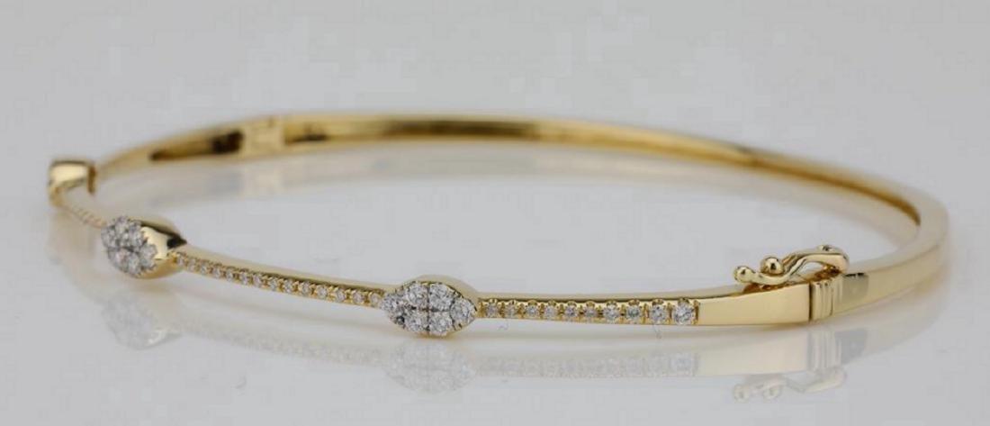 1.00ctw SI1-SI2/G-H Diamond & 14K Bangle Bracelet - 2
