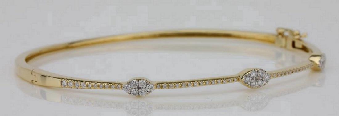 1.00ctw SI1-SI2/G-H Diamond & 14K Bangle Bracelet - 3