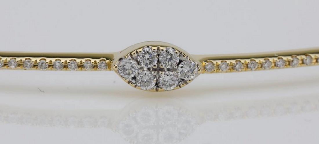 1.00ctw SI1-SI2/G-H Diamond & 14K Bangle Bracelet - 4