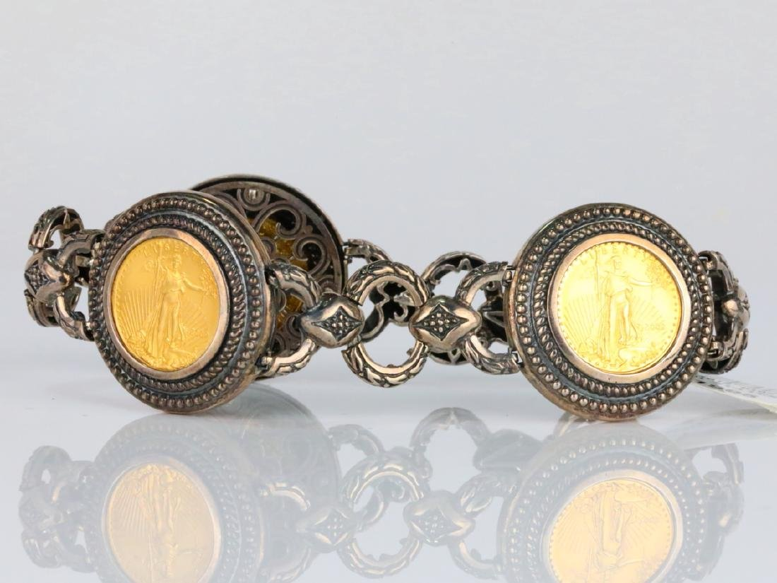 American Gold Eagle Coin Sterling Silver Bracelet - 2