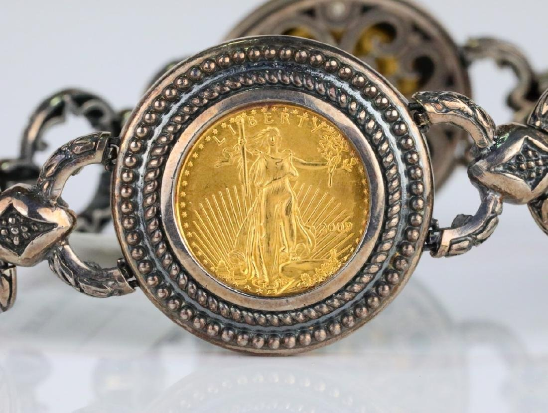 American Gold Eagle Coin Sterling Silver Bracelet - 3