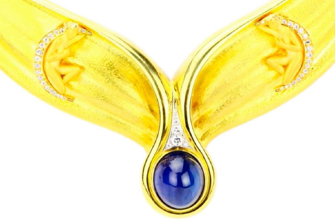 Carrera y Carrera Diamond & Blue Sapphire 18K Necklace - 3