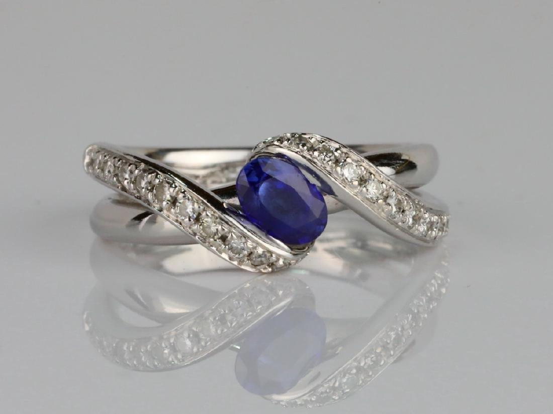 1ctw Blue Sapphire & SI1-SI2/G-H Diamond 14K Ring