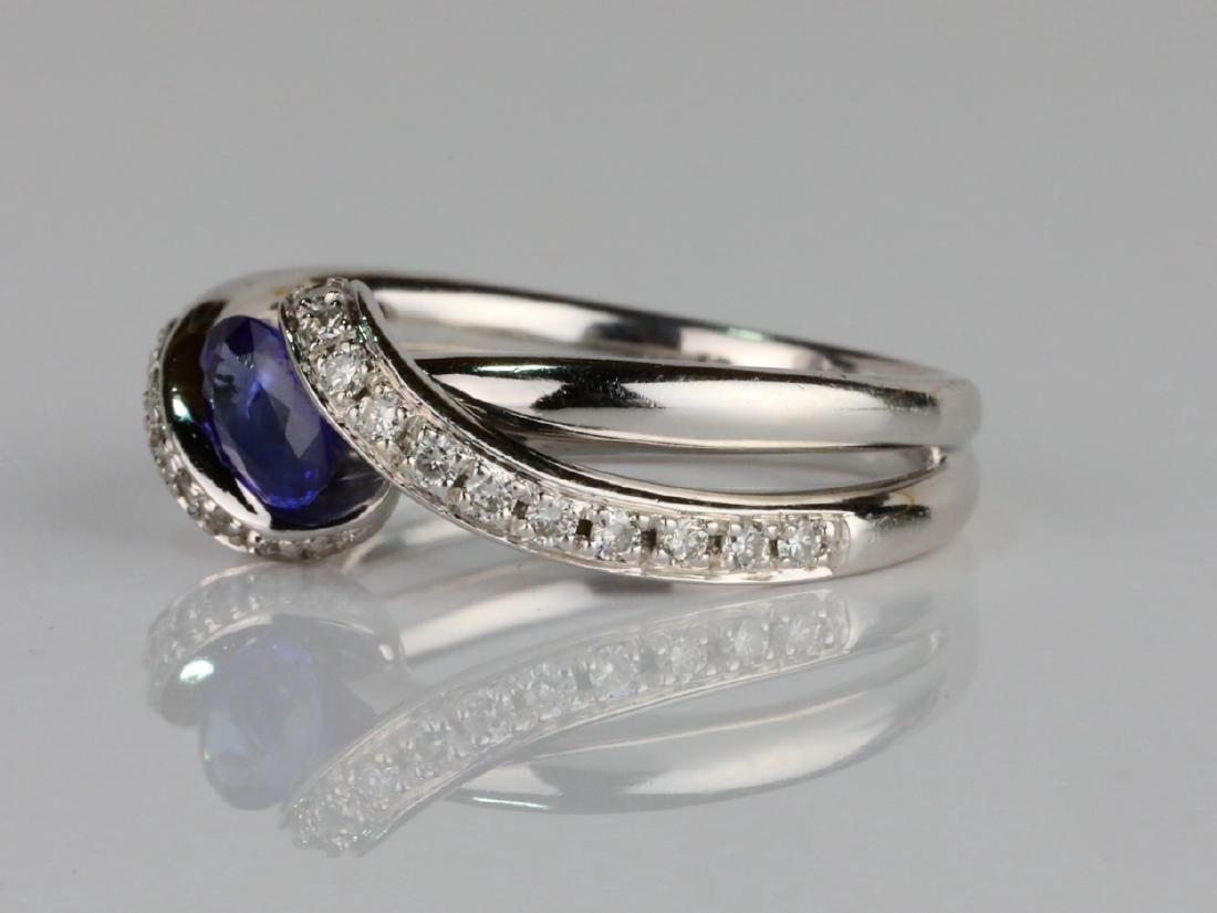1ctw Blue Sapphire & SI1-SI2/G-H Diamond 14K Ring - 2