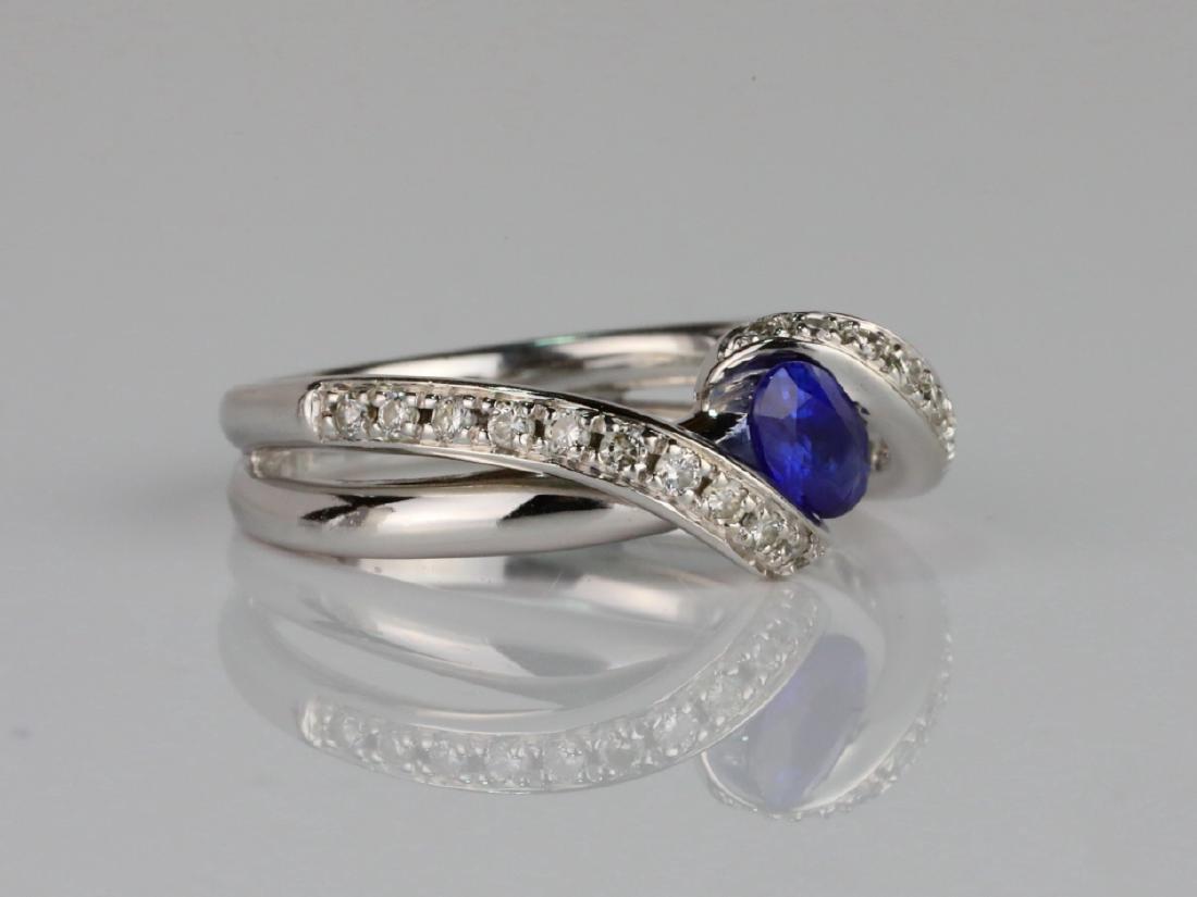 1ctw Blue Sapphire & SI1-SI2/G-H Diamond 14K Ring - 3
