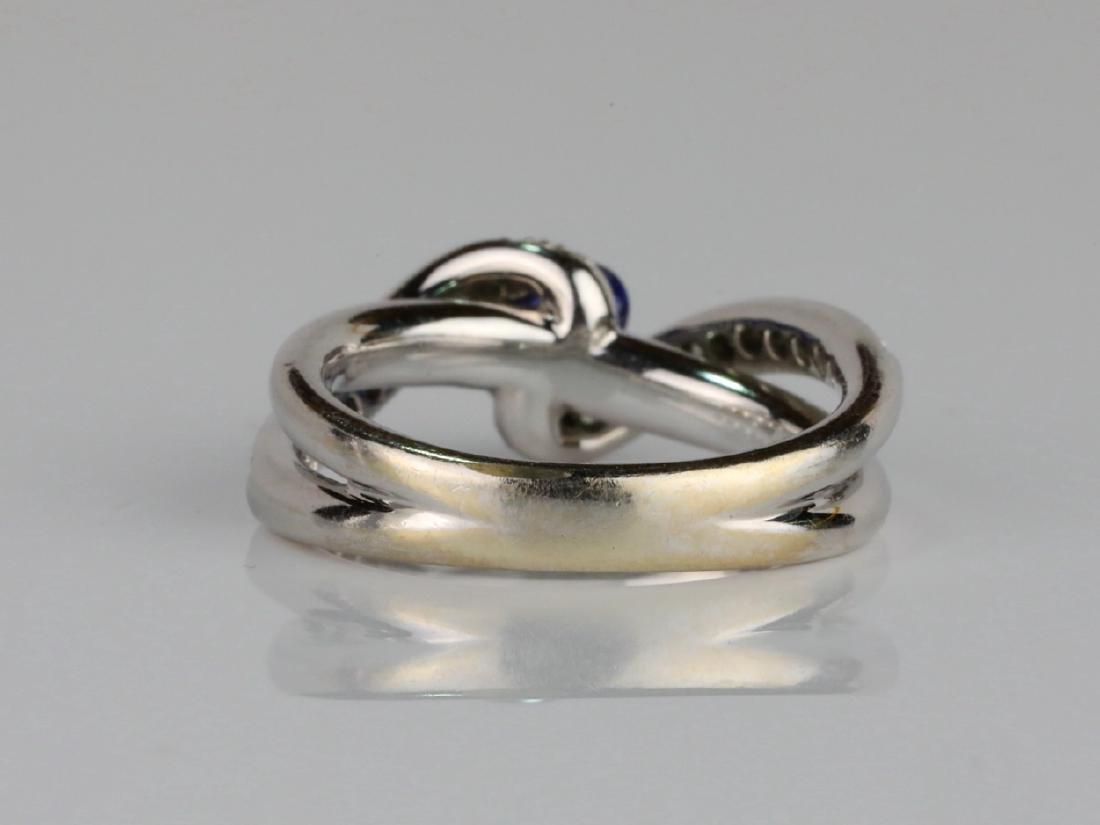 1ctw Blue Sapphire & SI1-SI2/G-H Diamond 14K Ring - 4