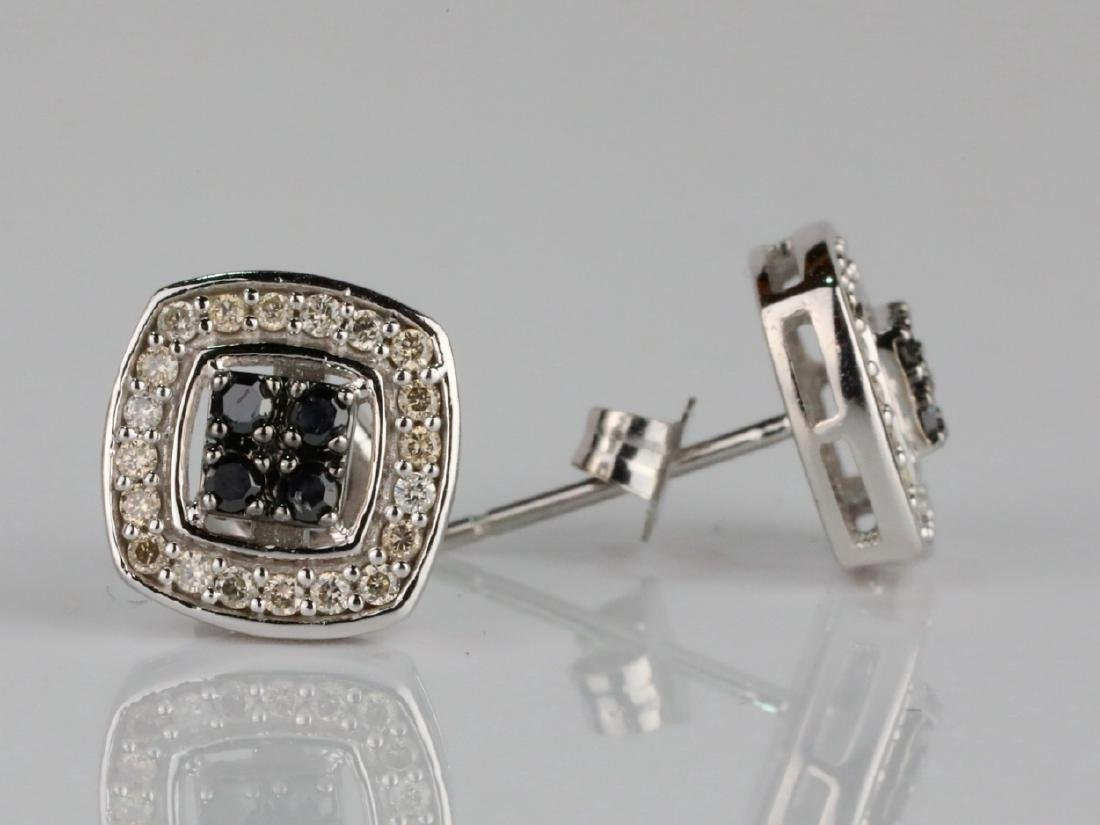 14K & 0.60ctw White/Black Diamond Earrings - 2