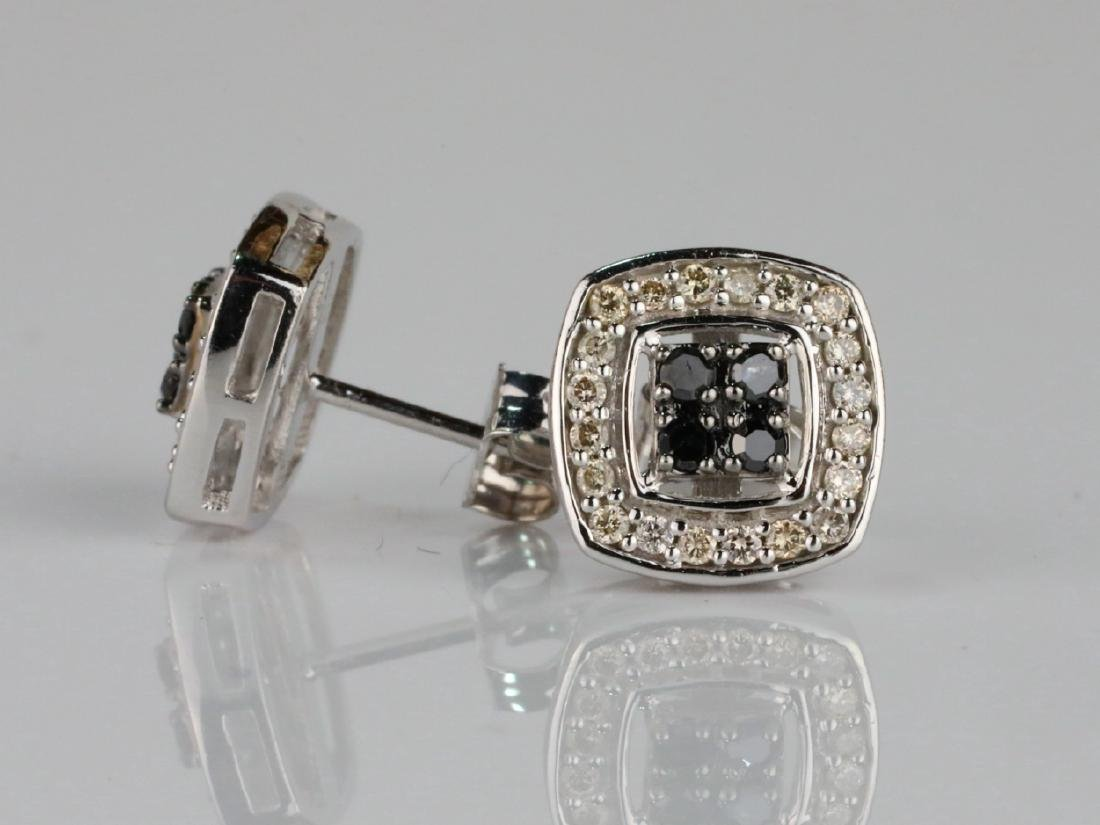 14K & 0.60ctw White/Black Diamond Earrings - 3