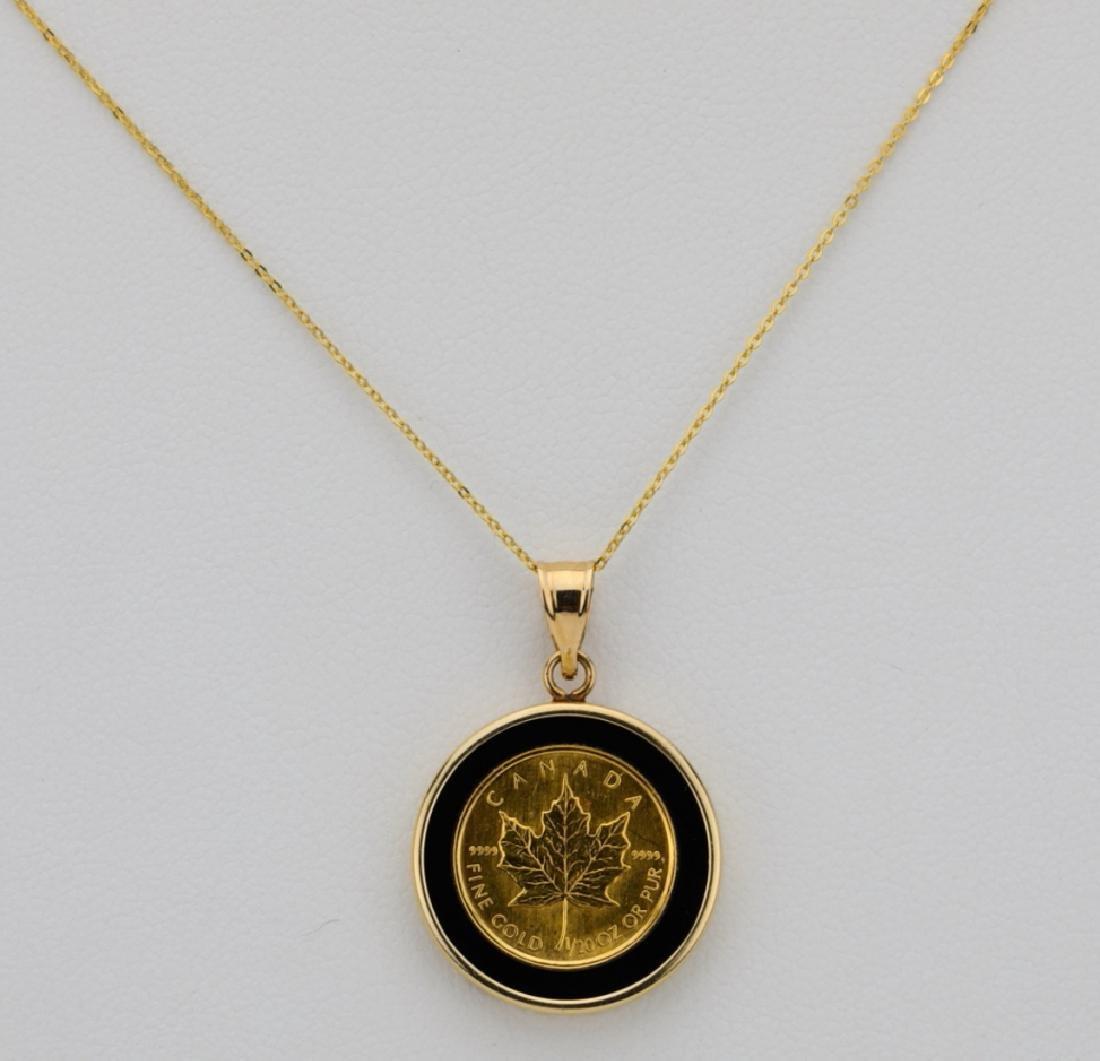 """Designer 1/20 Oz. Gold Coin & 14K 18"""" Necklace"""