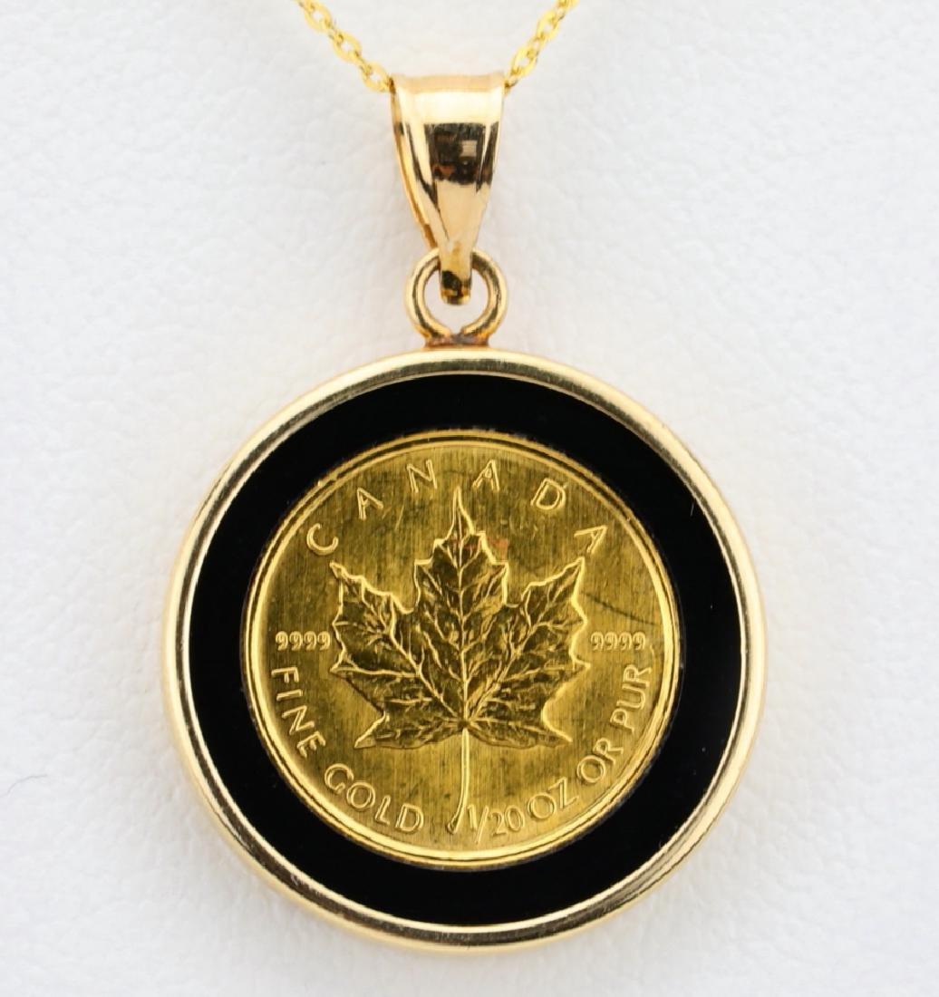 """Designer 1/20 Oz. Gold Coin & 14K 18"""" Necklace - 2"""