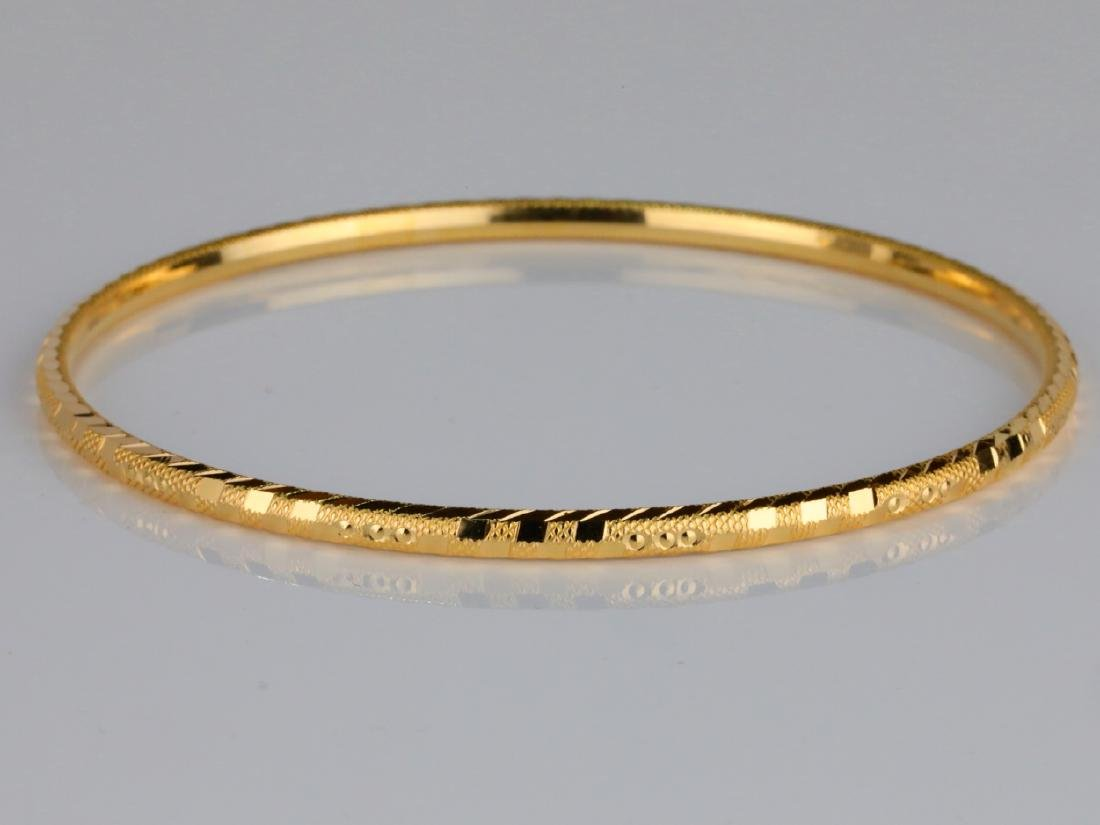 Solid 18K Yellow Gold 3mm Wide Bangle Bracelet