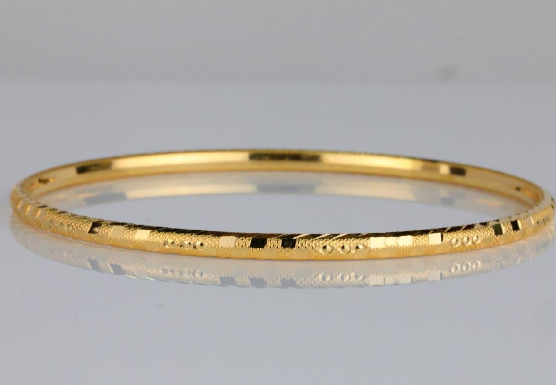 Solid 18K Yellow Gold 3mm Wide Bangle Bracelet - 2