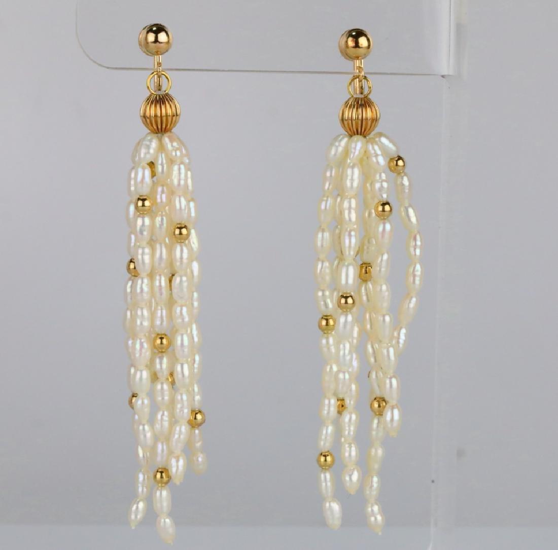 "Freshwater Baroque Pearl & 14K 3"" Tassel Earrings"
