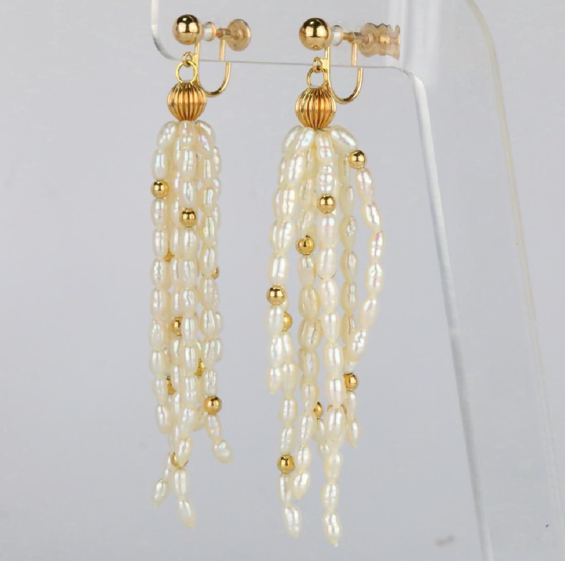 "Freshwater Baroque Pearl & 14K 3"" Tassel Earrings - 3"
