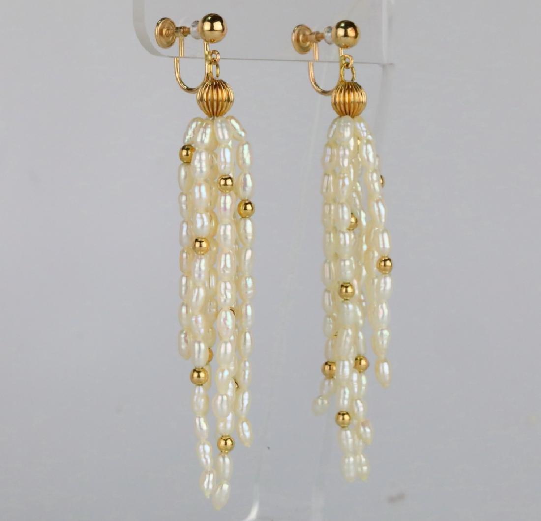"Freshwater Baroque Pearl & 14K 3"" Tassel Earrings - 4"