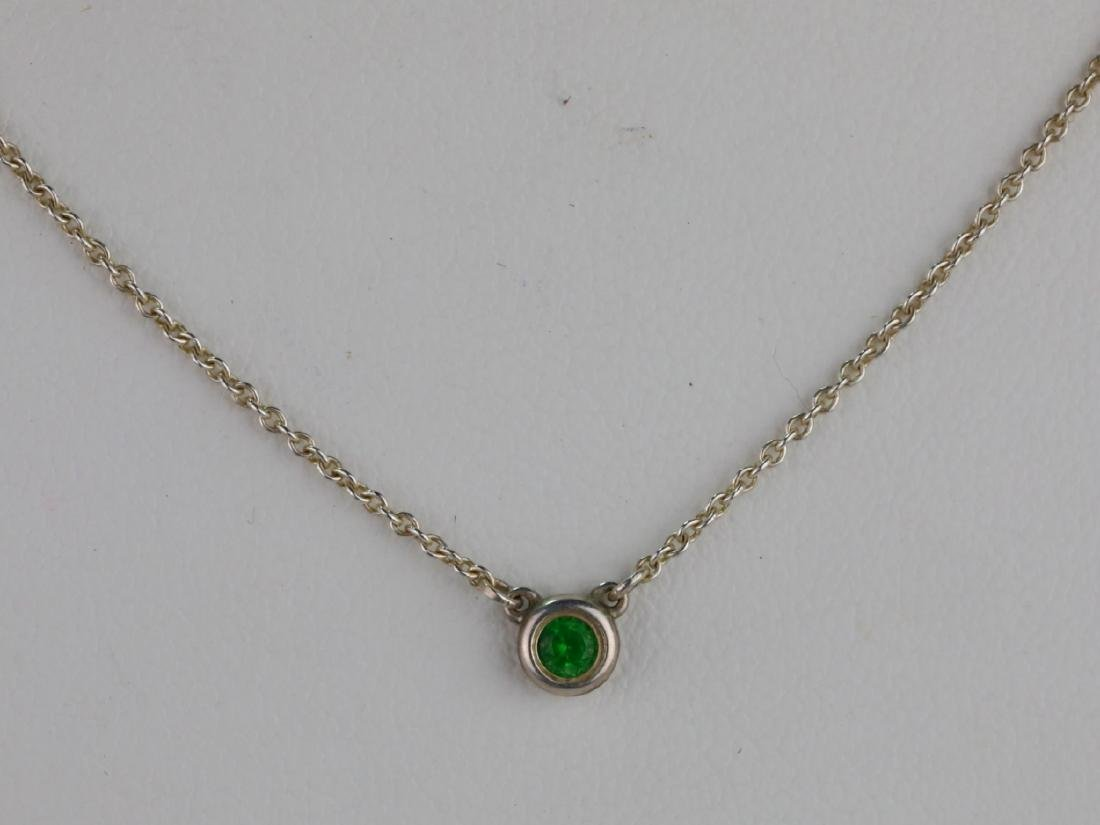 Tiffany & Co. Tsavorite Garnet Sterling Necklace - 2