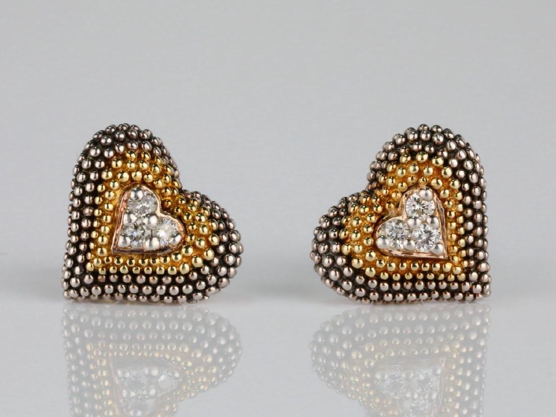 Lagos Caviar 18K/Sterling Silver Earrings W/Diamonds