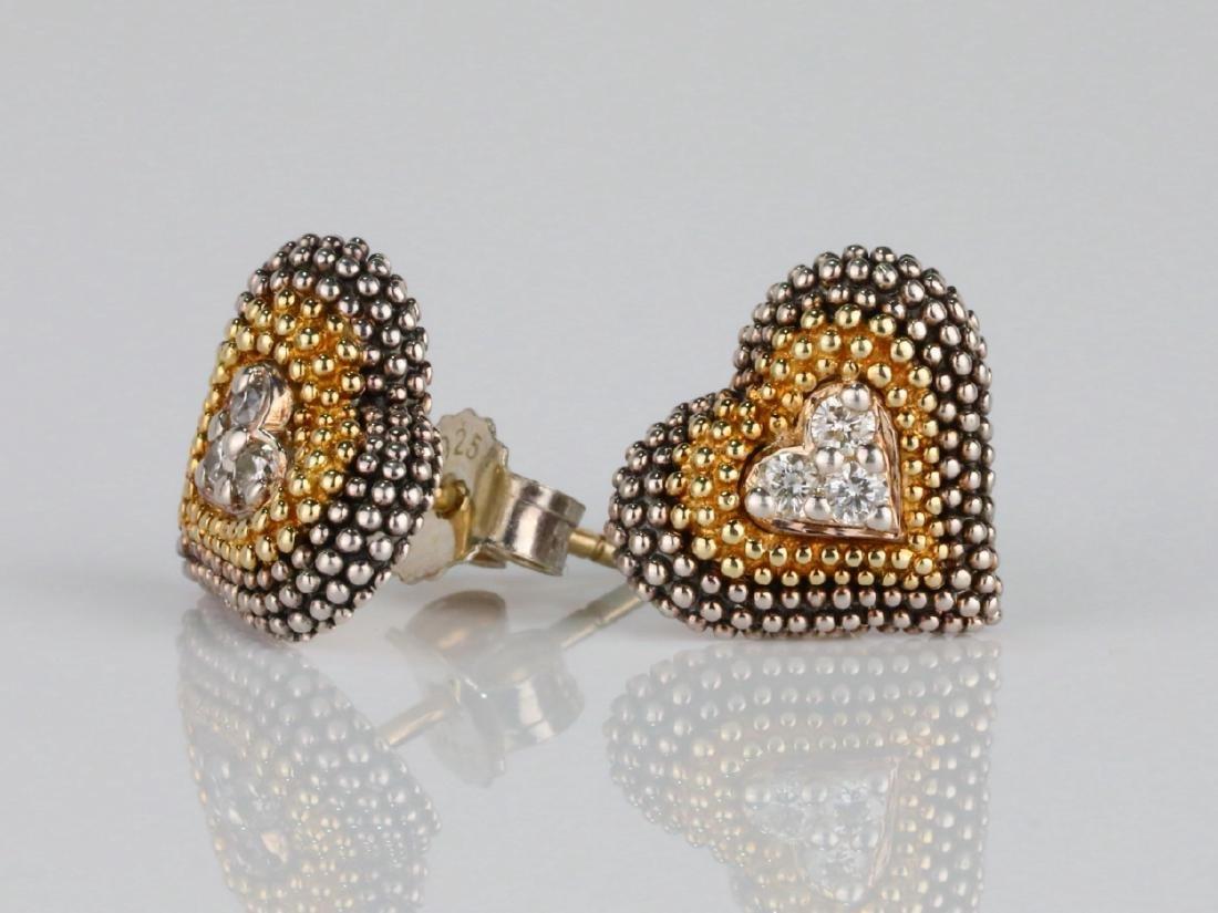 Lagos Caviar 18K/Sterling Silver Earrings W/Diamonds - 2