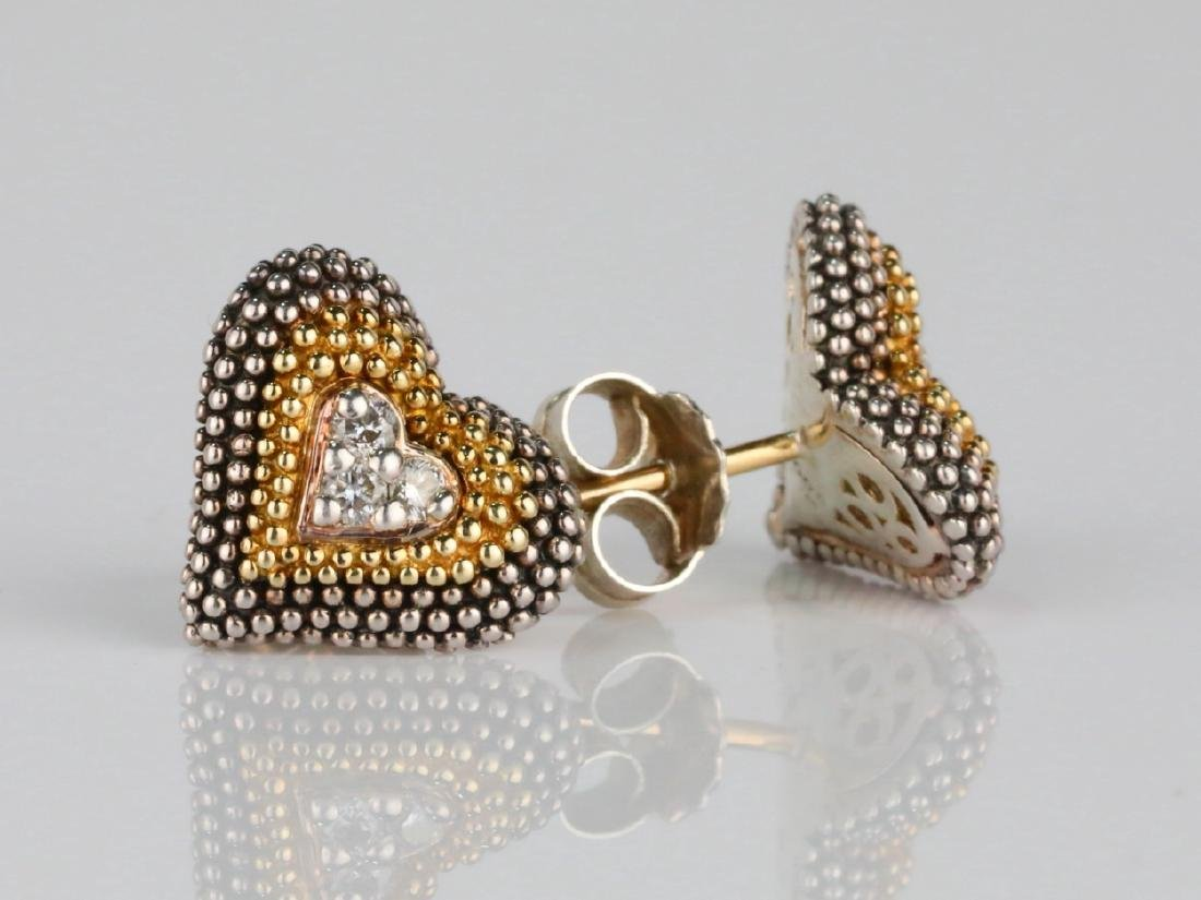 Lagos Caviar 18K/Sterling Silver Earrings W/Diamonds - 3