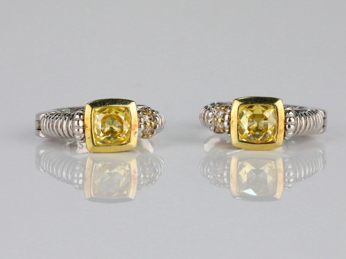 Judith Ripka Sterling Silver/18K Earrings W/Diamonds