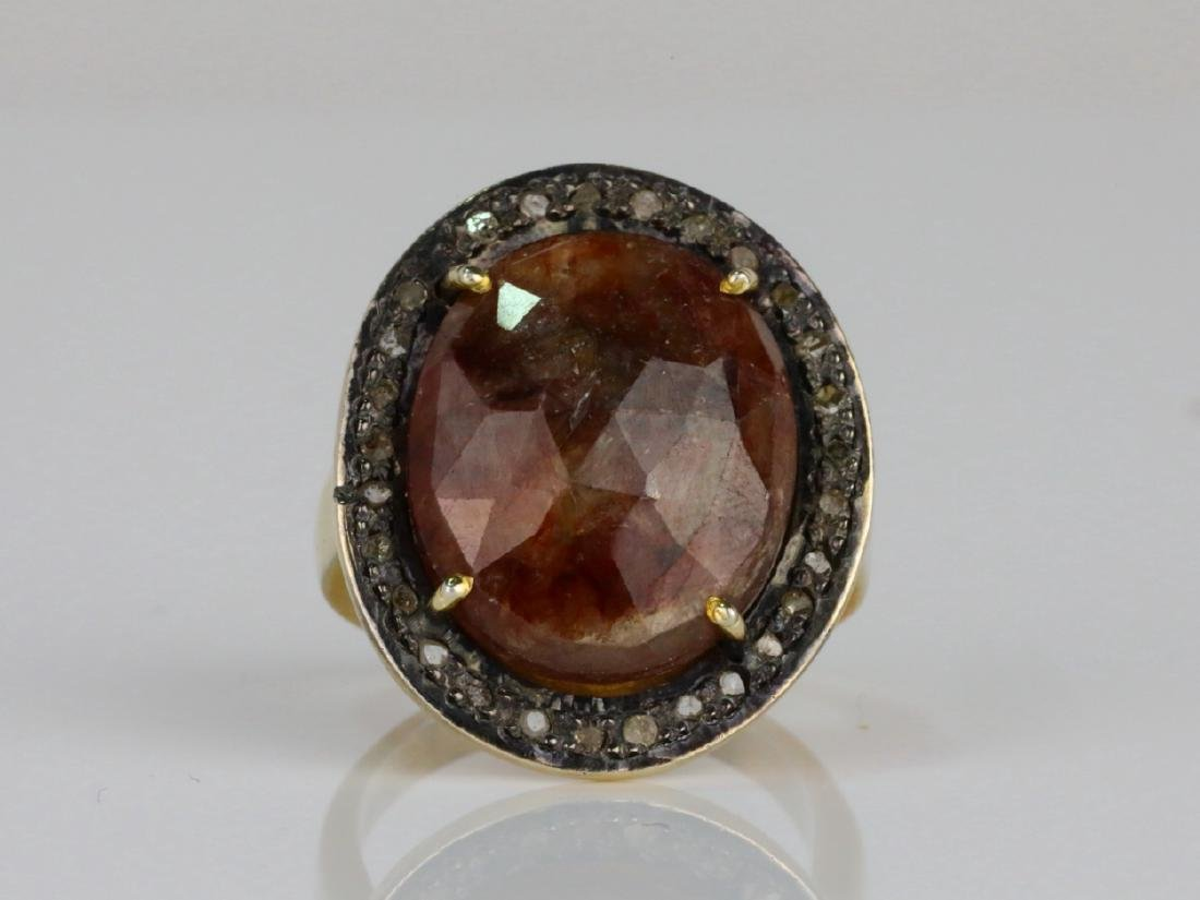 12ct Smoky Quartz, Uncut Diamond Sterling Silver Ring