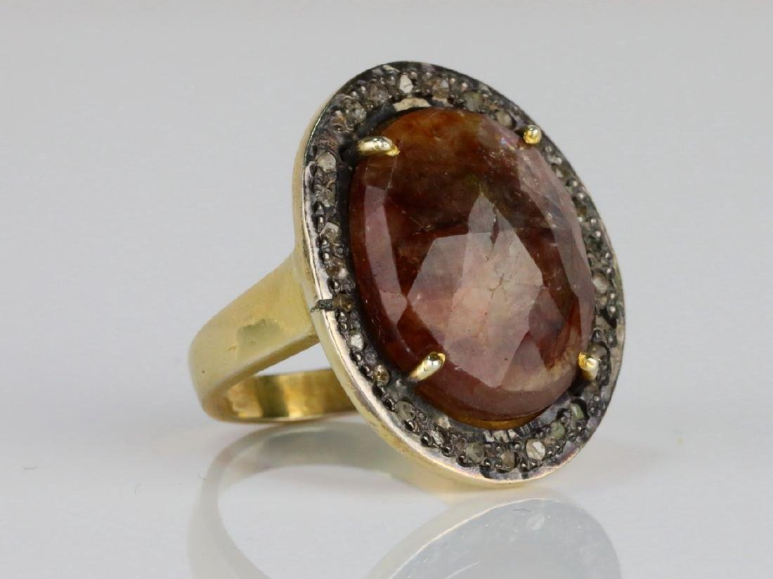 12ct Smoky Quartz, Uncut Diamond Sterling Silver Ring - 3