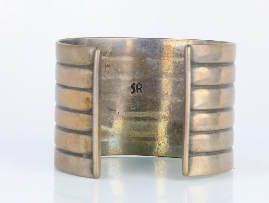 "Sterling Silver 1.75"" Wide Cuff Bracelet Signed SR - 4"