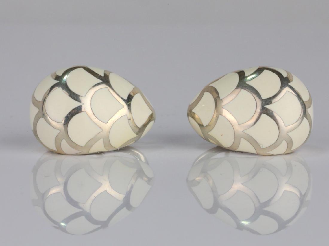 """John Hardy Sterling Silver & Enamel 1"""" Earrings"""