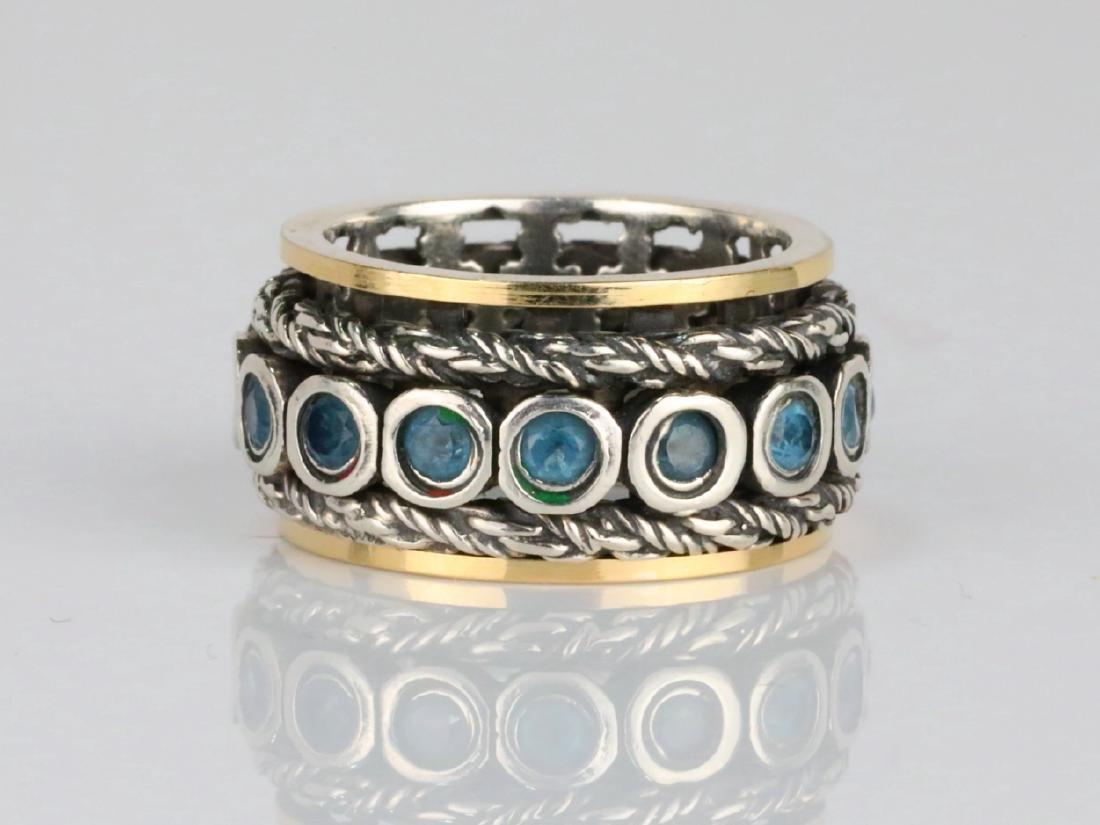 1.6ctw Blue Topaz & Sterling Silver/14K Ring