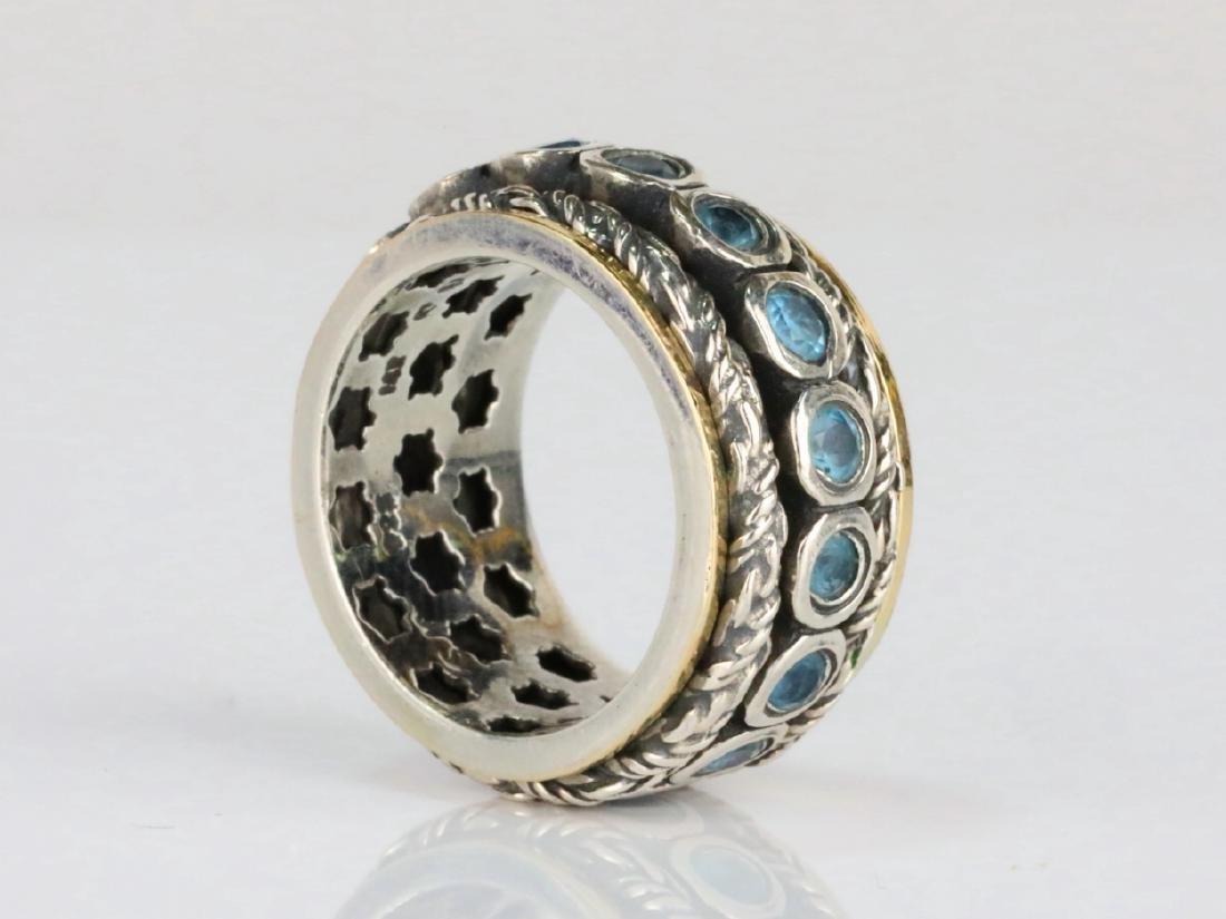 1.6ctw Blue Topaz & Sterling Silver/14K Ring - 2