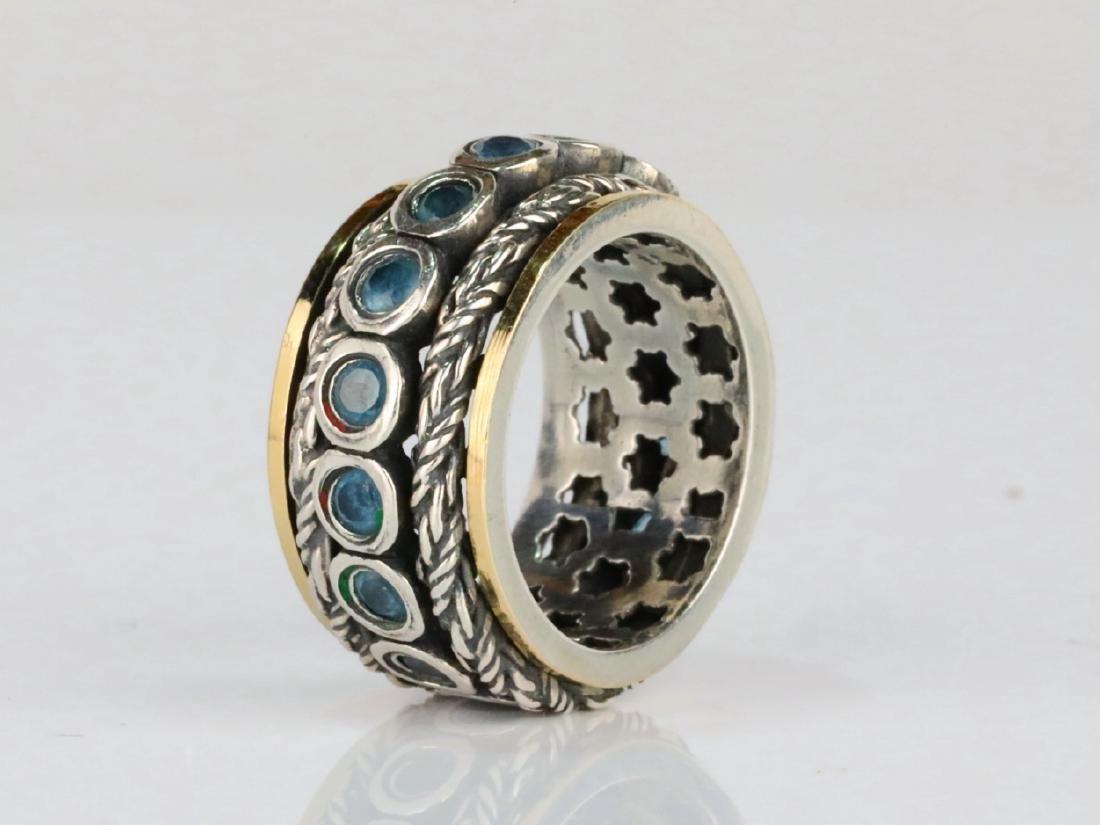 1.6ctw Blue Topaz & Sterling Silver/14K Ring - 3