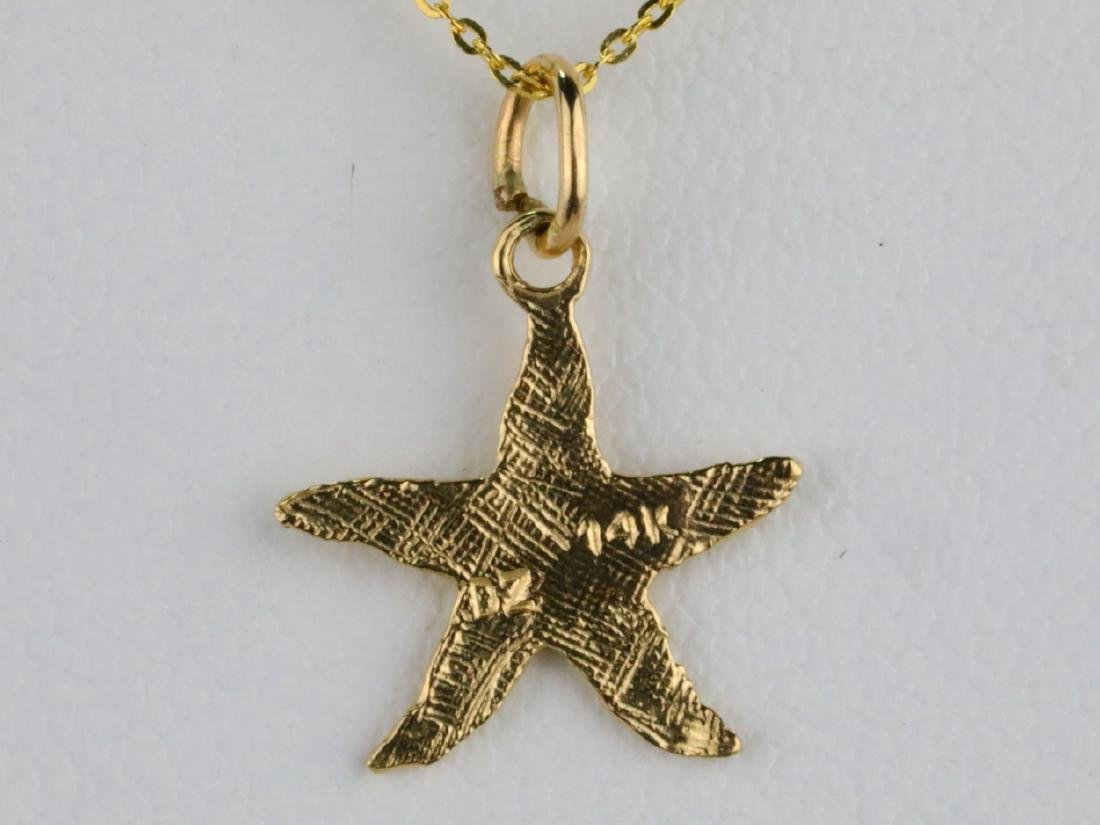 """Solid 14K Yellow Gold 18"""" Starfish Necklace - 2"""