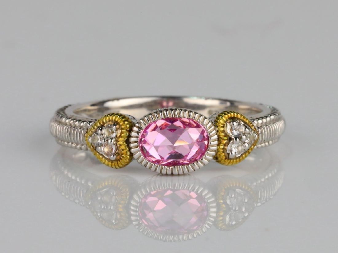 Judith Ripka Pink Topaz & Sterling Silver/18K Ring