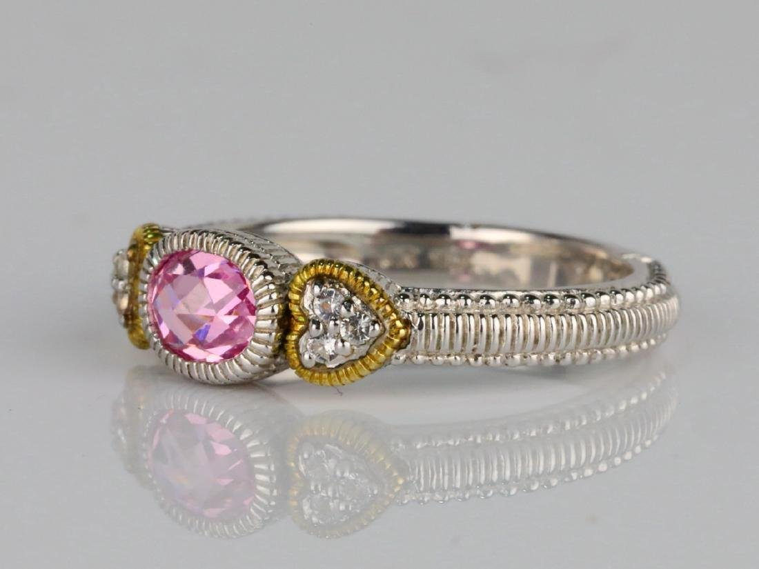 Judith Ripka Pink Topaz & Sterling Silver/18K Ring - 2